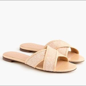 NEW J. Crew Cora Glitter Crisscross Sandals 8M